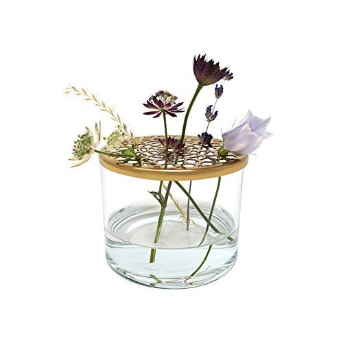 LaLe Living Vase Buket aus Eisen und Glas mit Ornament Deckel in Gold, Ø8 x H6 cm