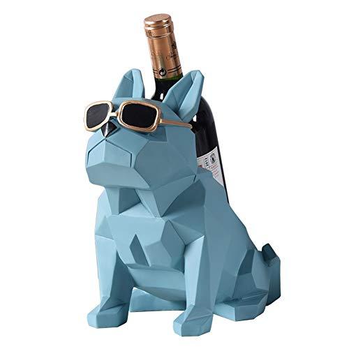 TRJGDCP Geometría Abstracta Bulldog Estatua Estante de la Botella Decorativa de Resina Pit Bull Dog sostenedor del Vino for Bar Ornamento Regalo del Arte Soporte para Vino