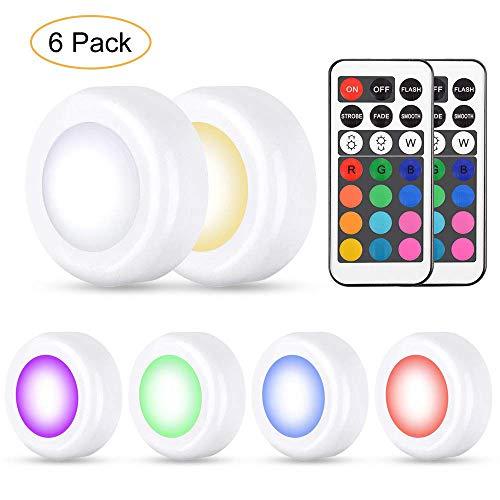 6er RGB Schrankleuchten Led Nachtlicht mit 13 Farben und 4 Modi, Dimmbare Multicolor LED Unterbaubeleuchtung Leuchtmittel Batteriebetrieben mit Fernbedienung für Küche, Schränke, Regal, Flur