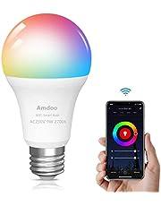 Smart Lamp WiFi gloeilamp 9W E27 LED RGB lamp is compatibel met Alexa Google Home en Siri, geen hub nodig, dimbare kleurlamp voor bars, feesten, KTV, wooncultuur, bedlampjes (1 pack)