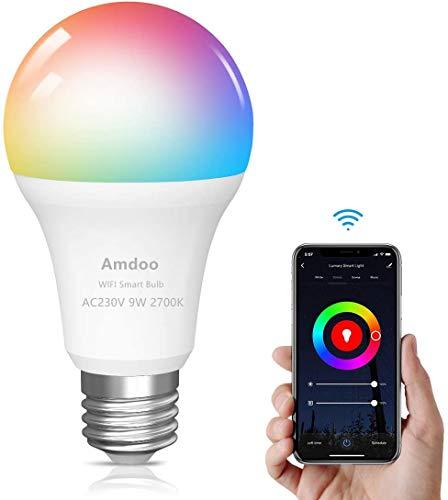 Bombilla LED Inteligente WiFi,E27 9W Equivalente a 60W 16 Millones de Colores 806 lúmen Bombilla...