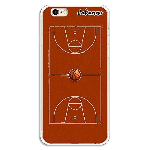 dakanna Funda para iPhone 6-6S | Campo y balón de Baloncesto | Carcasa de Gel Silicona Flexible Transparente