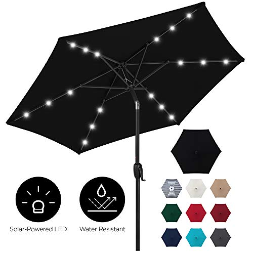 Best Choice Products 7.5ft Outdoor Solar Patio Umbrella for Deck, Pool w/Tilt, Crank, LED Lights - Black