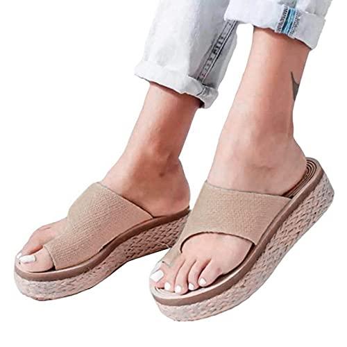 KLHDM Mujer Ortopédicas Sandalias, Sandalias de Juanete para Mujer, cómodas Zapatillas de Verano para Dedo Grande, Corrector de Juanetes, Sandalias Ortopédicas,003,41EU