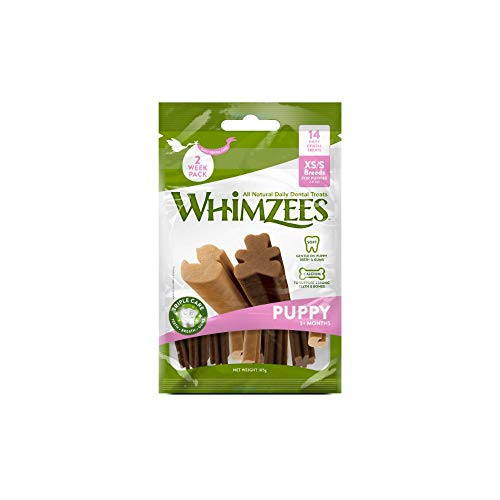 Whimzees Puppy, natürliche getreidefreie Zahnpflegesnacks für Welpen, Kaustangen für Hunde, XS/S - 14 Stück, 105 g