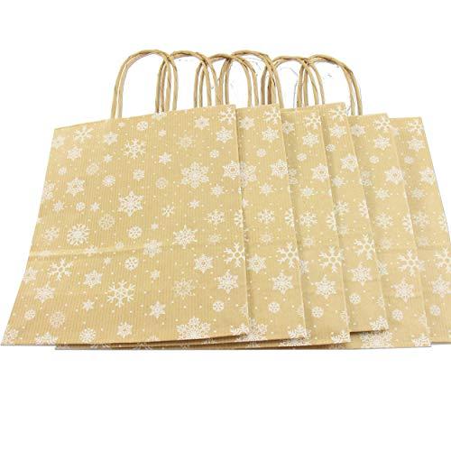trendmarkt24 Papiertragetaschen braun weiß Sterne 6 Stück mit Papiergriff Papiertüten ca. 18x22x8 cm Papiertaschen Kraftpapier Geschenkstüten Einkaufstüten Papiertragetüten basteln 23190-A