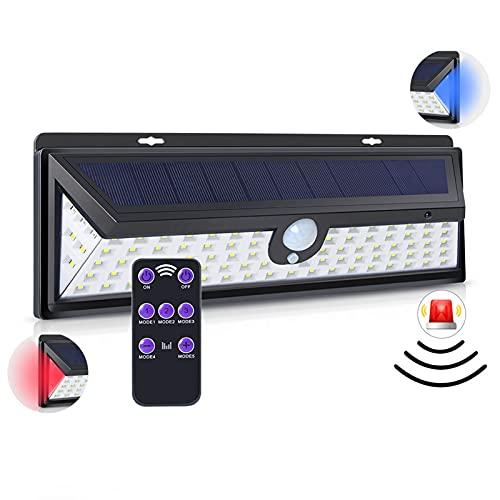 PLOKN Lampada da Parete Solare, 92 luci a LED su Tre Lati induzione del Corpo Umano a induzione antifurto Allarme, Luce da Giardino ad energia Solare 270 °