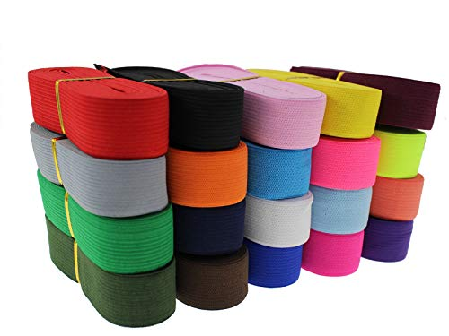 80 Yards Striped Wide Knit Elastic Flat Heavy Stretch Elastic Band High Elasticity Knit Binding Tape Band for DIY Sewing Craft, Bedspread, Wigs & Waist(1' 25mm, Multi-Color)