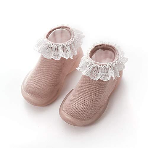 [NSHOP] ベビーシューズ ファーストシューズ ベビー シューズ 靴下シューズ ソックスシューズ 靴 室内履き 歩き始め 練習用 室内シューズ 履きやすい 柔らかい 靴下シューズ 可愛い ギフト プレゼント レース くすみカラー 赤ちゃん (ピンク,