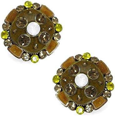 Arius Yellow Crystal Clip On Earrings
