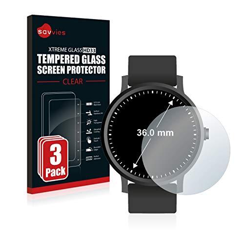 savvies Protector Cristal Templado Compatible con Relojes (Circular, Diámetro: 36 mm) (3 Unidades) Protector Pantalla Vidrio, Protección 9H,