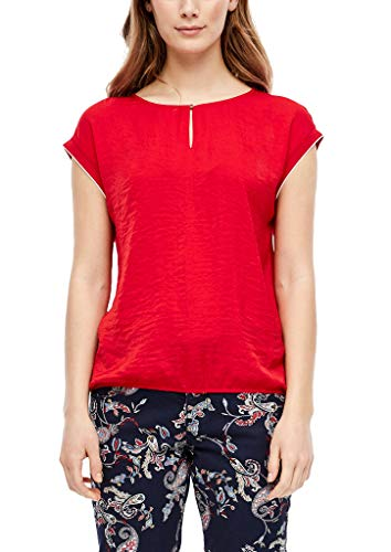 s.Oliver Damen Materialmix-Shirt mit Satin-Front red 46