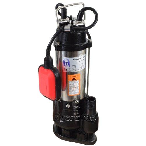 Agora-Tec® Baupumpe-180W Tauchpumpe für Schmutzwasser, Abwasser, für Fäkalien und organische Feststoffe mit Schwimmerschalter und max: 0,75 bar und max: 7000l/h