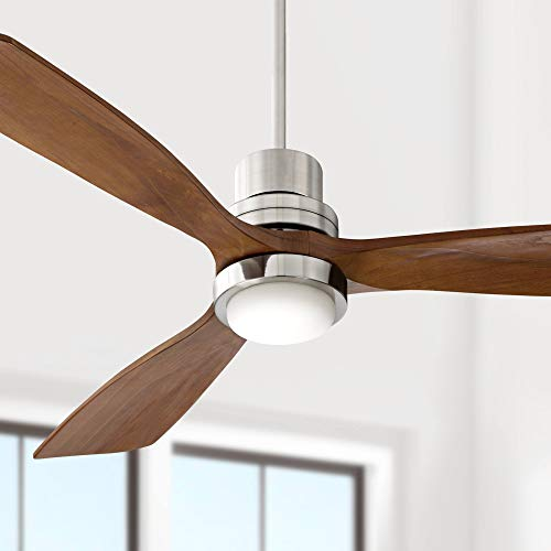 """52"""" Casa Delta-Wing Mission Ceiling Fan with Light LED Brushed Nickel Walnut Wood for Living Room Kitchen Bedroom Family Dining - Casa Vieja"""