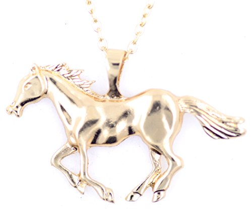 Lizzyoftheflowers–oro tono caballo/Pony colgante collar, de cuento de hadas Fashion joyas
