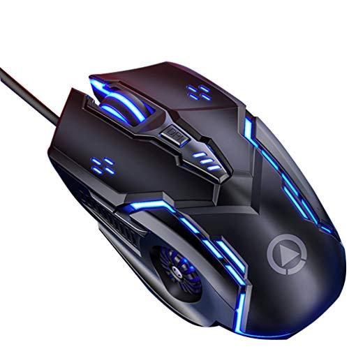 Mouse de jogos OSALADI com fio mudo RGB espectro retroiluminado ergonômico com 7 modos de luz de fundo para Windows PC Gamers (Preto)