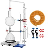 VEVOR 2L Essential Oil Distillation Apparatus Lab Glassware Distillation Kit Water Distiller Purifier with Hot Stove Condenser S35 & 24 or 40 Joint