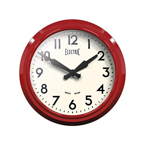 NEWGATE® Reloj de pared vintage en calidad de metal, eléctrico, con carcasa lacada brillante, con esfera con números arábigos transparente y manecillas negras, 37 cm, rojo, 37 cm