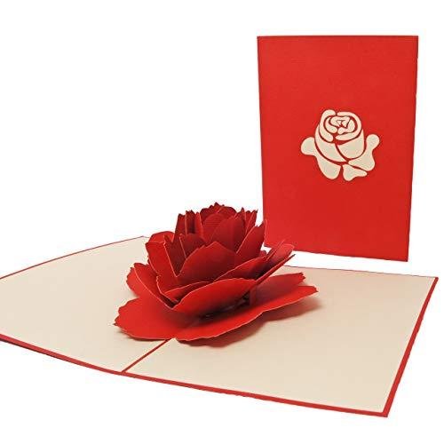 Favour Pop Up Glückwunschkarte. Ein filigranes Kunstwerk, das sich beim Öffnen als Rosenblüte entfaltet - ideal für den Valentinstag. TF010