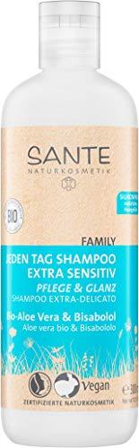 SANTE Naturkosmetik Jeden Tag Shampoo Bio-Aloe Vera & Bisabolol extra sensitiv, Für empfindliche Kopfhaut, Vegan, 300ml