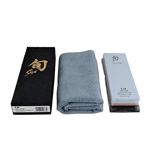 Kai DM-0708 - Piedra de afilar japonesa combinada para el cuidado perfecto de la navaja Shun Damasco, grano 300/1000, paño de pulido supersuave, 40 x 40 cm