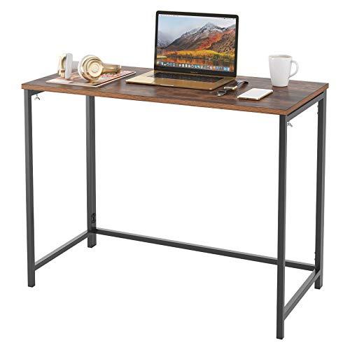 Homfa Schreibtisch Computertisch Klapptisch faltbar Arbeitstisch Bürotisch Holz stabil für Wohnzimmer, Büro, Office, Arbeitszimmer, Gaming im Industrie-Design Vintage Groß 98x47.5x75cm