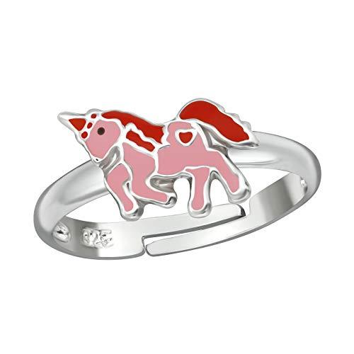 Tata Giselle - Anillo de pie de Plata 925/000 rodiada - Anillo Ajustable Unicornio Rosa y Rojo -