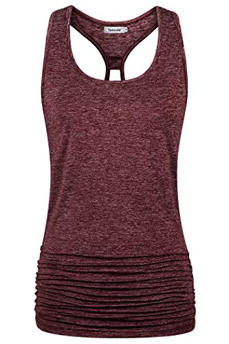 Tencole Racerback Tops for Women,Front Pleated Back Open Dolman Top Boat Neck Curved Hem Breathable Western Tunic Shirts Relaxed Fit Trainning Cami Tank Ruffles Bohemia Style Burnout Tank for Jogging