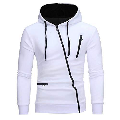 kolila Herren Kapuzenpullover Einzigartig Diagonal Reißverschluss Design Sweatshirt Mit Kapuze Einfarbig Langarm Hoodie Tops mit Tasche