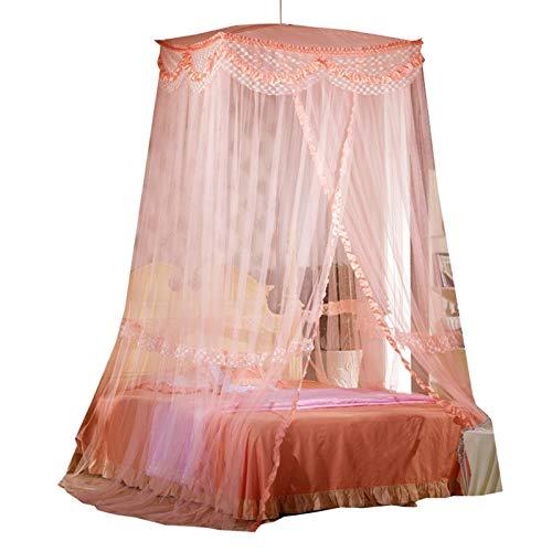Rosa Red malla mosquito grande Red colgante dosel cama cuadrada para cama doble Fácil instalación Tienda campaña cortina cama Princess para habitación niñas Camping al aire libre Altura 280cm/110in