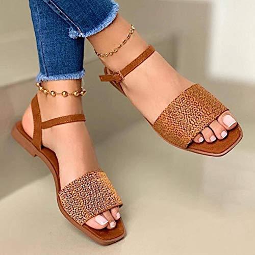 DQS 2021 Zapatos de Verano para Mujer Sandalias Planas Moda para Mujer...