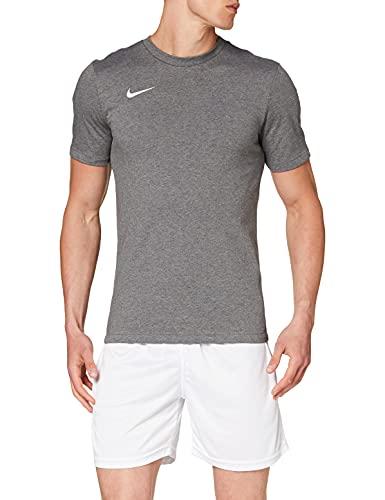 NIKE M tee TM Club19 SS T-Shirt, Hombre, Charcoal Heathr/Charcoal Heathr/Charcoal Heathr/White
