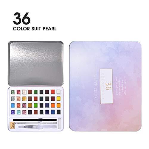 Alician 36/48 pigmento de acuarela nacarado rosa caja de hierro artista caja de metal portátil y paleta suministros artísticos acuarela, color 36 colores perla