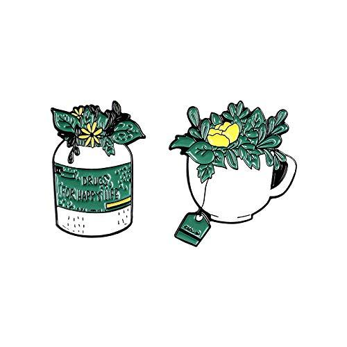 JKDFGJ 2 Stück Drogen für EIN glückliches Leben Emaille Pin Pflanze Blumen Kaffee Broschen Shirt Revers Tasche Green Badge Schmuck Geschenk für Freunde