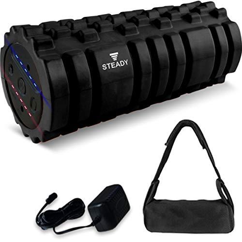 STEADY 最新UXモデル 電動フォームローラー 最大振動4500回 動画・収納袋付 [1年保証] ステディ ST116 筋膜リリース ヨガポール ストレッチローラー (1.ブラック)