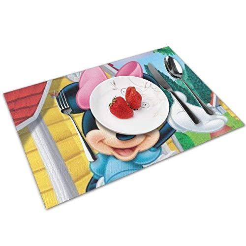 baowen Bonitos manteles Individuales para Mesa de Comedor de Minnie, Juego de 4 tapetes de Cocina Resistentes al Calor con Aislamiento Lavable, 12 x 18 Pulgadas