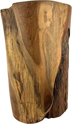 Teak Reclaimed Stump Style Table or Stool   Natural, Kiln-Dried Teak   Product Varies in Size, Shape, and Color