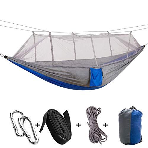 Hamacs, Meubles de Camping Anti-moustiques en Plein air adaptés à Plusieurs scènes Stockage Simple Double Charge Nette 200 kg (Couleur: Bleu + Blanc, Taille: 260 * 140 cm) Confortable
