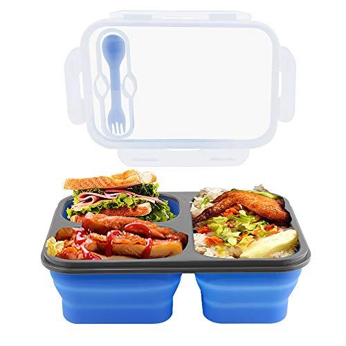 Manfore Silikon Lunchbox, Zusammenklappbaren Frischhaltedosen 3 Fach, Silikon Bento Box Meal Prep Boxen mit Deckle, Wiederverwendbar & Hohe Temperaturbeständigkeit, für Backofen mit Mikrowelle (Blau)