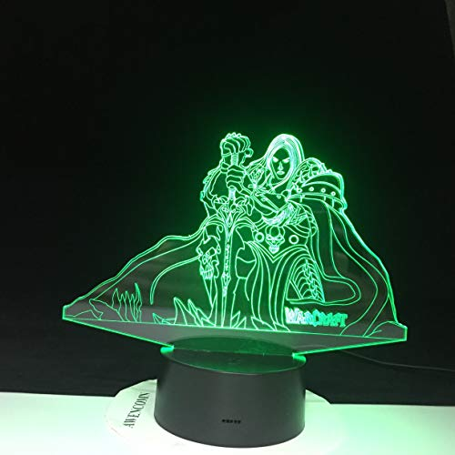 3D World of Warcraft Figure Lich King Arthas Menethil Figure Led Lamp Multicolor USB Warcraft Lego Bedroom Lightings Decor