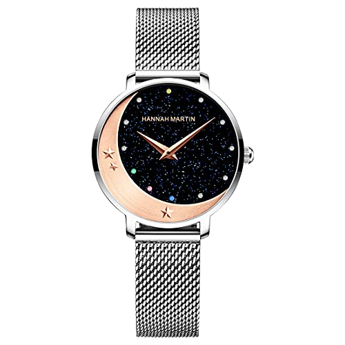 Allskid Relojes de mujer Romántico Cielo estrellado Estrella lunar Con diamantes de imitación Marcar Oro rosa Acero inoxidable Malla Correa de reloj Elegante Cuarzo Relojes de pulsera (33mm, Plateado)