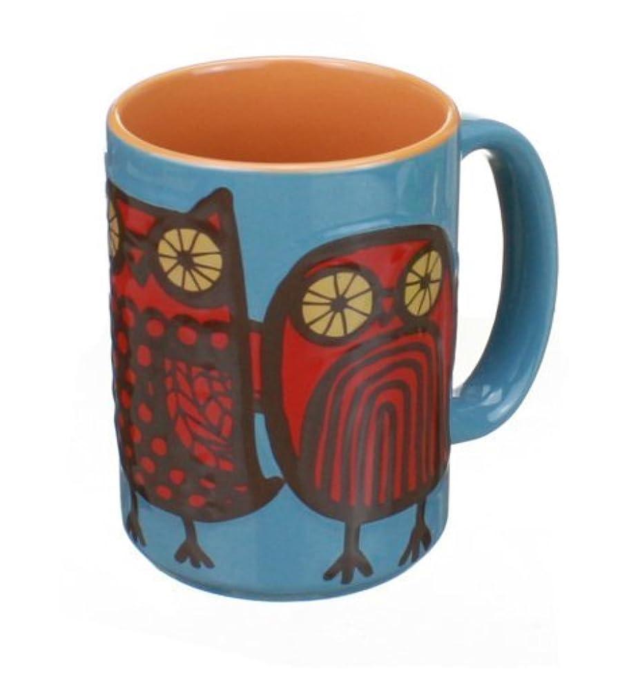 Owl Mug (Blue/Red) by Kitsch'n Glam ,desert red, dolphin blue ,16oz