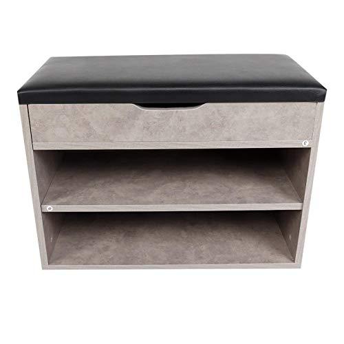 Zapatero de madera para zapatos con asientos con cómodo cojín MDF + PU Suministros para el hogar de 2 capas para dormitorio, sala de estar
