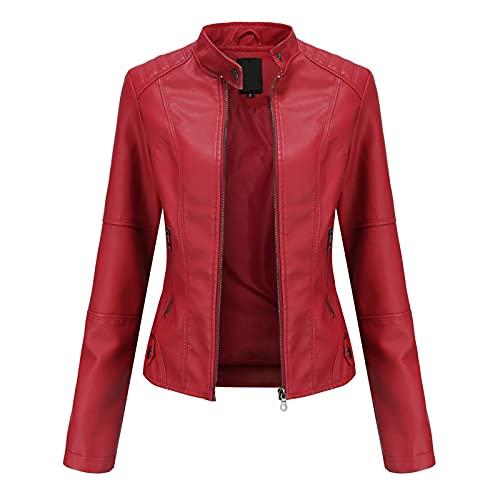 EverNight Chaqueta de Cuero sintética para Mujer, Chaqueta Corta con Cremallera, Chaqueta Motocicleta con Cremallera en los Bolsillos,Rojo,M