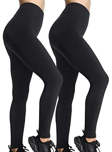 iloveSIA Damen 2er leggings schwarz sport Hosen Strumpfhosen Frauen Active Hüfte Push-Up Skinny Hose S