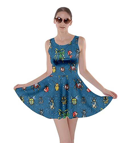 CowCow Womens Royal Blue Pattern with Watercolor Beetles Skater Dress, Royal Blue - S