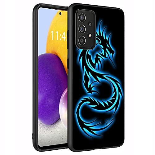 BXIKEOPIU Schutzhülle für Galaxy A72, Premium-TPU, dünn, stoßfest, Silikon, Schutzhülle für Samsung Galaxy A72 4G und 5G (2021) 17 cm – Blau leuchtender Drache