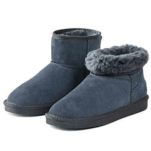 Adokoo Women's Winter Snow Boots Warm Faux Fur Lined Mid Calf Boots Ankle Booties (Grey,US10)