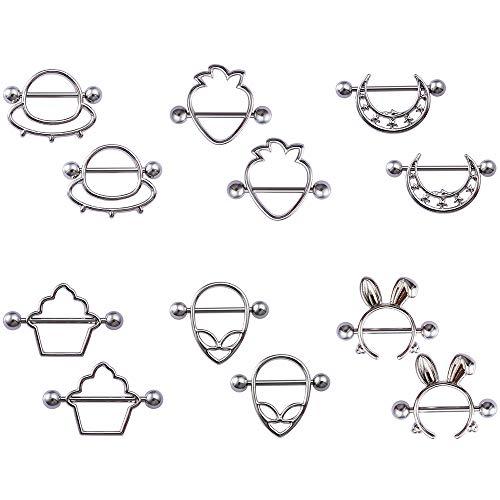 HONGTU 6pair(12pcs) Cute Style Nipple Piercing Barbell Breast Jewelry for Nightclub Women Girl Sexy (Silver)