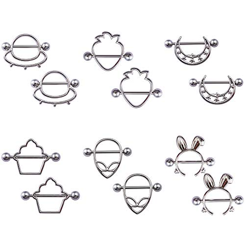 HONGTU 6pair(12pcs) Cute Style Nipple Piercing Barbell Breast Jewelry for Nightclub Women Girl Sexy (Silver)